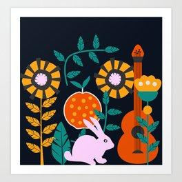 Music and a little rabbit Art Print