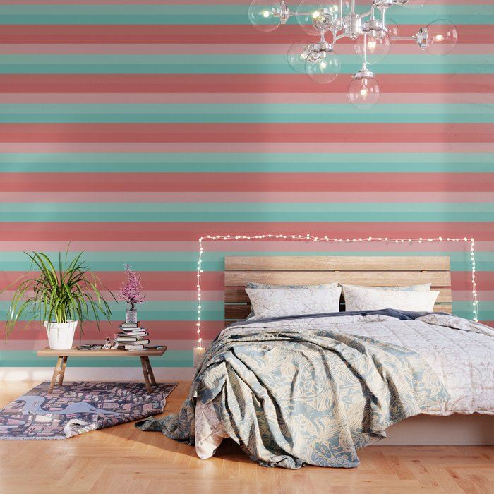 Broad Stripes in Aqua and Coral Pink. Minimalist Striped Color Block Design in Cheerful Colors Wallpaper