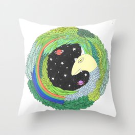 Rainbow Unicorn space monster Throw Pillow