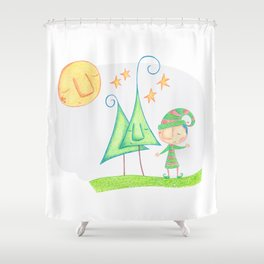 Christmas elf Shower Curtain