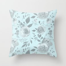 light blue and gray floral watercolor print Throw Pillow