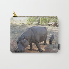 Mother and Baby Hippo Grazing, Africa Carry-All Pouch