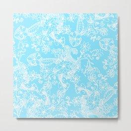 Modern white aqua hand drawn floral pattern Metal Print