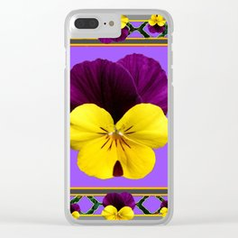 PURPLE & YELLOW SPRING PANSIES GARDEN Clear iPhone Case