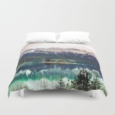 Green Blue Lake and Mountains - Eibsee, Germany Duvet Cover