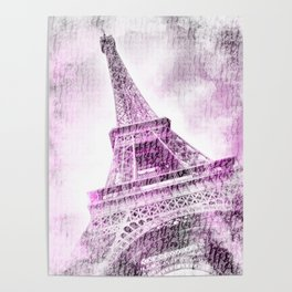 PARIS Watercolor Eiffel Tower | pink Poster