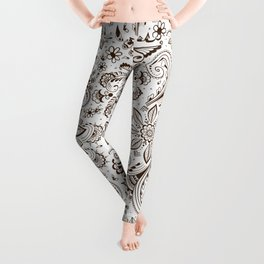 Mehndi or Henna Flowers Leggings