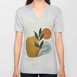 Soft Abstract Small Leaf Unisex V-Neck