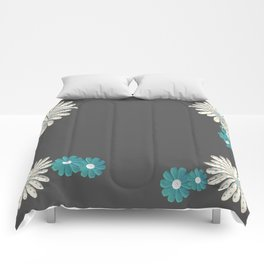 Gray,blue flowers Comforters
