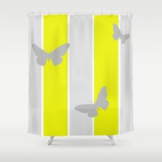 Mustard and Grey Stripes Shower Curtain