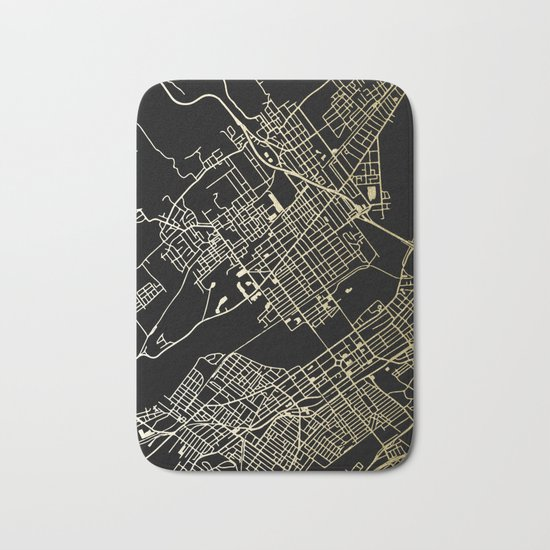 Wilkes-Barre Gold and Black Map Bath Mat