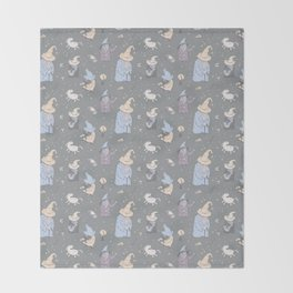 Wizards on grey Throw Blanket