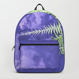 fern leaves on blue water Backpack