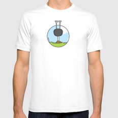 Oz the Ostrich White SMALL Mens Fitted Tee