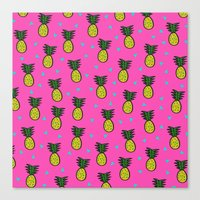 pineapples Canvas Prints featuring Pineapples by Sandra Arduini