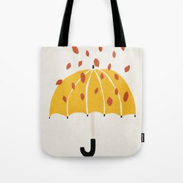 Umbrella, Autumn, Mid century modern kids wall art, Nursery room Tote Bag