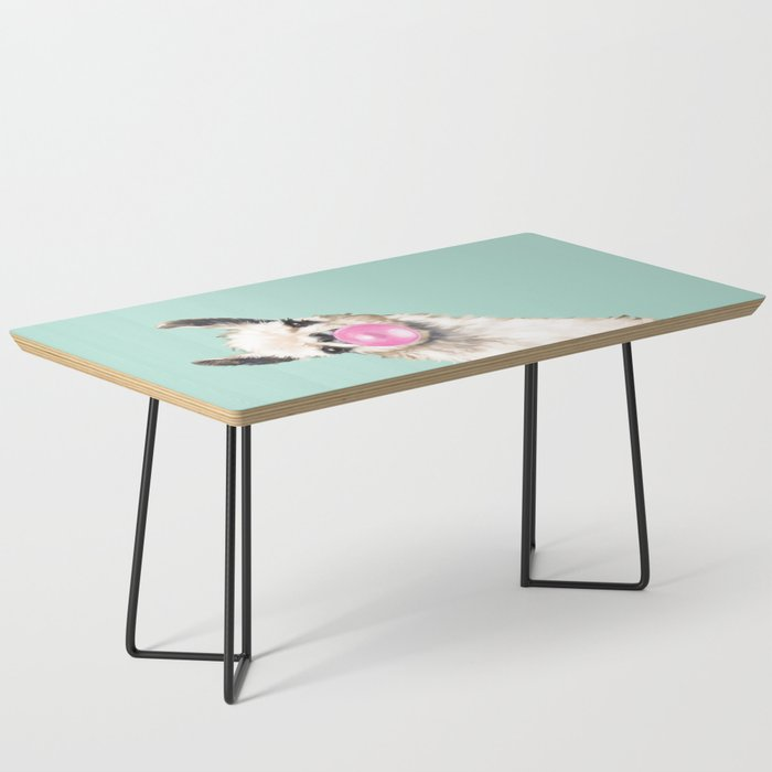 Bubble Gum Sneaky Llama in Green Coffee Table