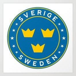 Sweden, Sverige, 3 crowns, circle Art Print