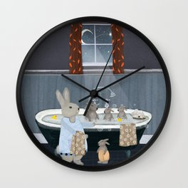 bunny bath time Wall Clock