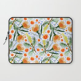Australian Native Floral Pattern - Grevillea and Pincushion Flowers Laptop Sleeve