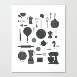 Kitchen Tools (black on white) Canvas Print