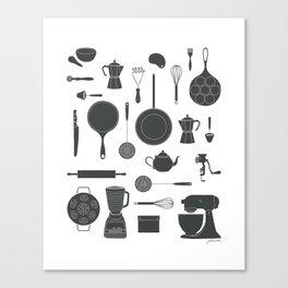 Kitchen Tools (black on white) Canvas Print