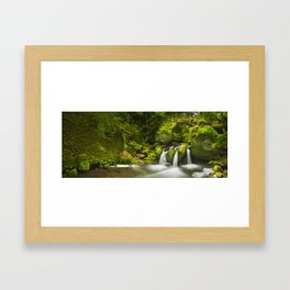 Stone bridge and waterfall in Luxembourg Framed Art Print