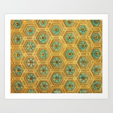 Gold Honeycomb Art Print