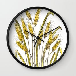 Golden wheat painting Wall Clock