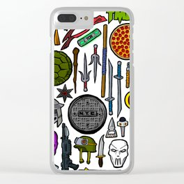 TMNT Weapons & Masks Clear iPhone Case