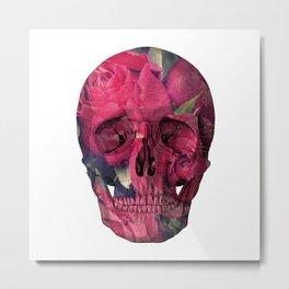 Vintage Anatomical Skull Grunge Pink Roses Metal Print