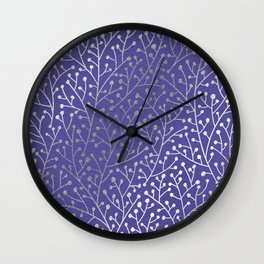 Periwinkle Berry Branches Wall Clock