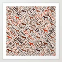 Boxer dog Word Art Art Print