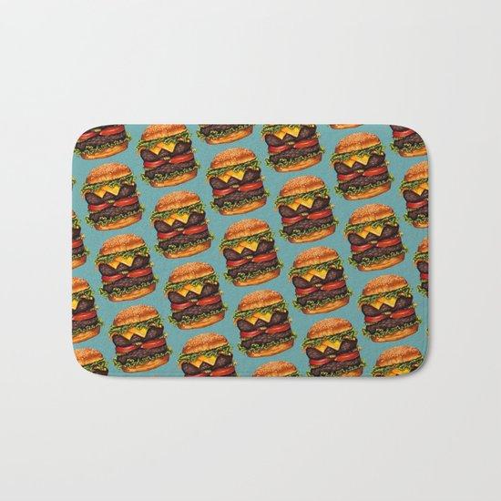 Double Cheeseburger Pattern Bath Mat
