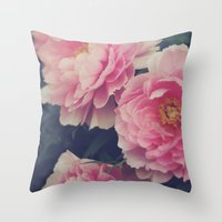 peonies Throw Pillows featuring Peonies  by Kameron Elisabeth