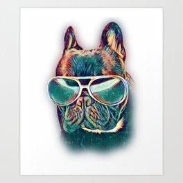 French Bulldog Colorful Neon Dog Frenchie Sunglasses Art Print