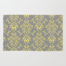 Damask Pattern in Grey and Yellow Rug