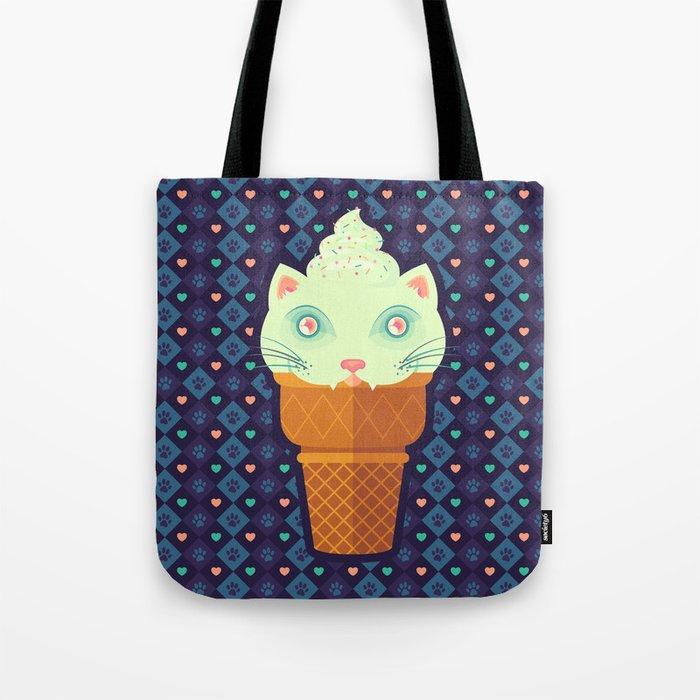 Strawberry-Mint Cat Tote Bag