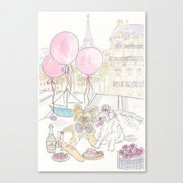 Puppy Dogs Paris Rooftop Picnic Romance Canvas Print