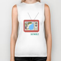 hawaiian Biker Tanks featuring Hawaiian TV by uzualsunday