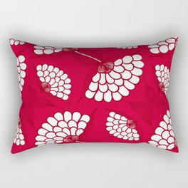 African Floral Motif on Red Rectangular Pillow