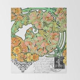 Romance in Paris, Art Nouveau Floral Nostalgia Throw Blanket