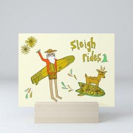 sleigh rides // surfing santa // retro surf art by surfy birdy Mini Art Print