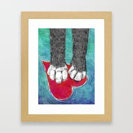 Little Grey Kitty Paws Framed Art Print