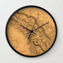 Map Of Nicaragua 1851 Wall Clock
