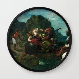 Eugne Delacroix - Pirates africains enlevant une jeune femme Wall Clock