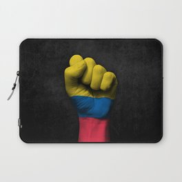 Colombian Flag on a Raised Clenched Fist Laptop Sleeve