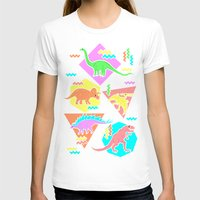 yetiland T-shirts featuring Nineties Dinosaur Pattern by chobopop