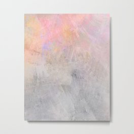 Pastel Candy Iridescent Marble on Concrete Metal Print