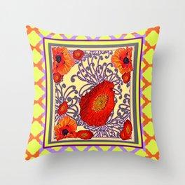 Lemon Caramel Trellis Pattern Poppy Flowers Art Throw Pillow